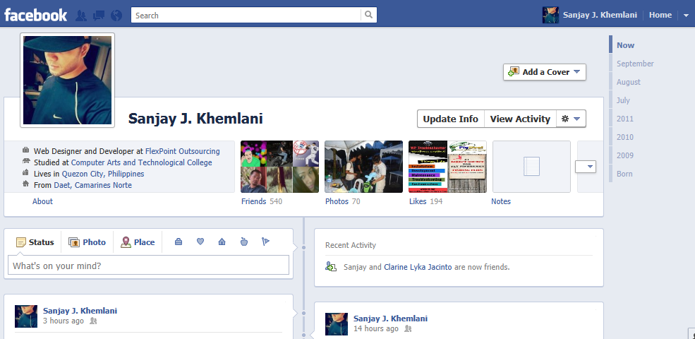 How to create your Facebook Timeline in your profile - Sanjay Khemlani