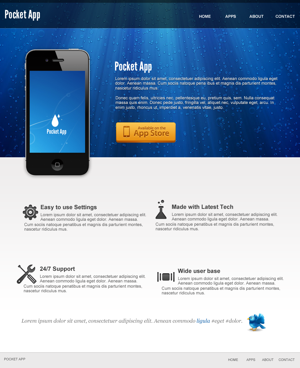 Iphone App Website in Photoshop