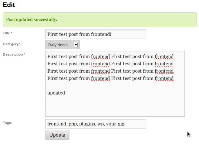 screenshot 4 Wordpress Front end Posting Plugins and Tutorials