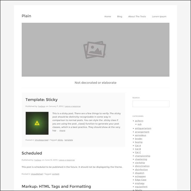 Plain WP 40+ Free Responsive Wordpress Themes