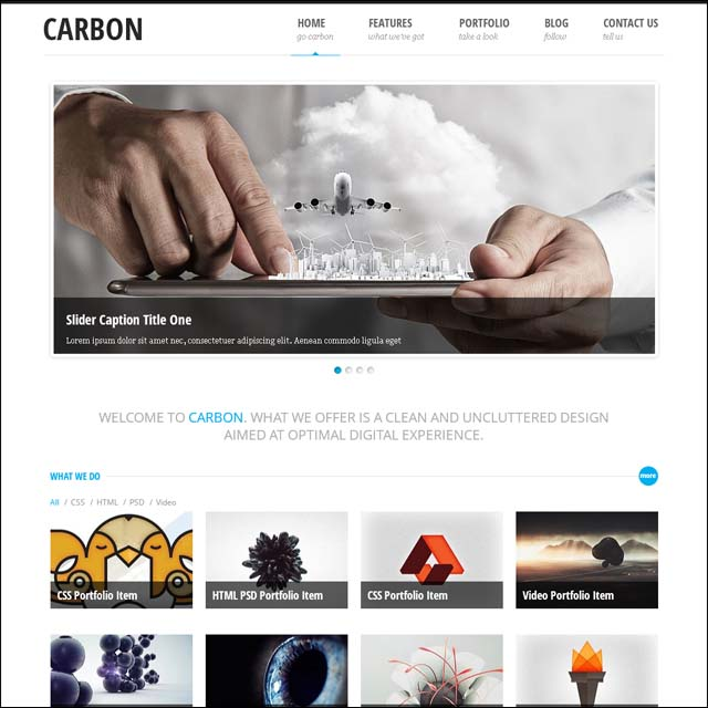 carbon wp light 40+ Free Responsive Wordpress Themes