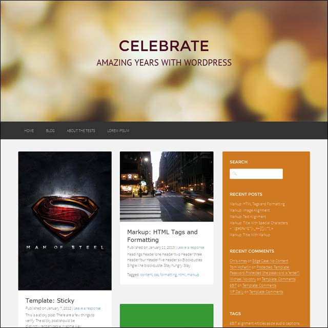 celebrate 40+ Free Responsive Wordpress Themes