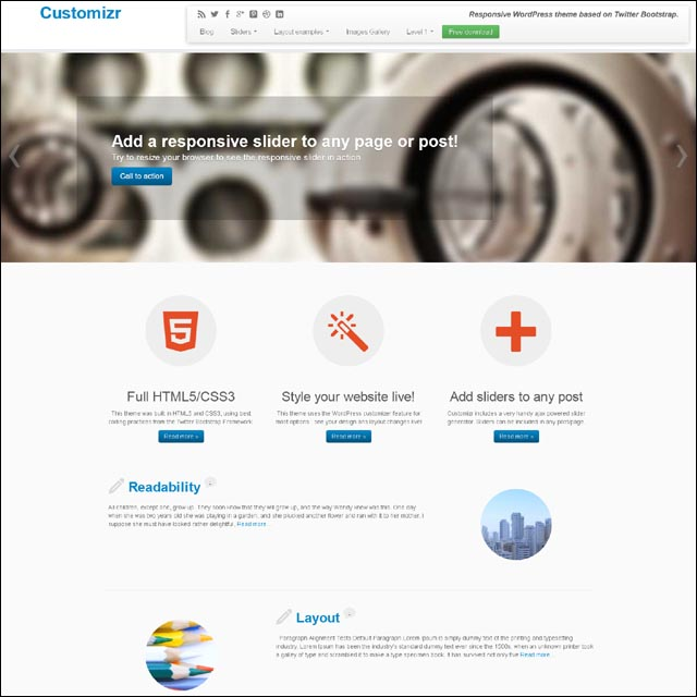 customizr 40+ Free Responsive Wordpress Themes