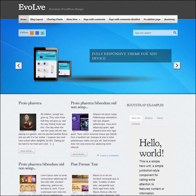 evolve.wordpress.theme  40+ Free Responsive Wordpress Themes