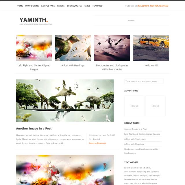 free wordpress theme yaminth 40+ Free Responsive Wordpress Themes