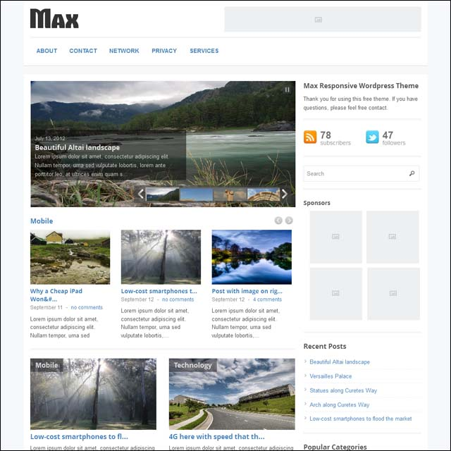 max 40+ Free Responsive Wordpress Themes