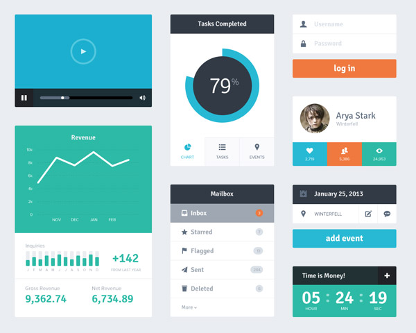 3 20+ UI Kits for Your Flat Web Designs Ideas