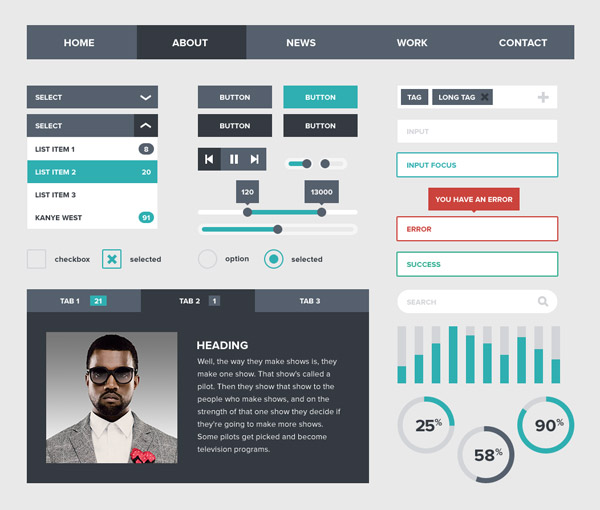 4 20+ UI Kits for Your Flat Web Designs Ideas