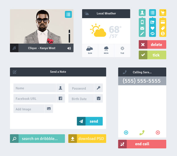 9 20+ UI Kits for Your Flat Web Designs Ideas