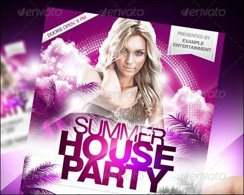 summer house party flyer 20+ Free Photoshop PSD Flyer Templates