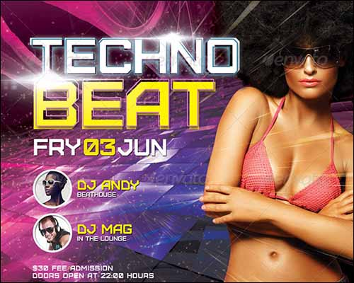 techno beat flyer template 20+ Free Photoshop PSD Flyer Templates