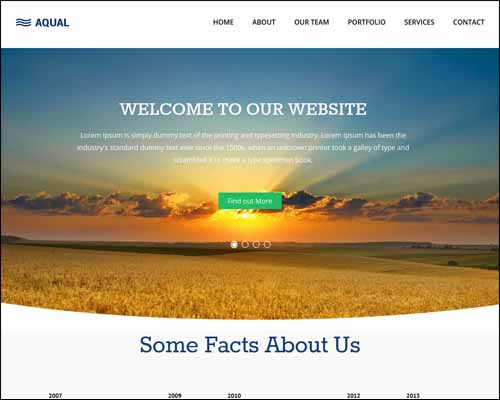 Aqual Singlepage Flat Responsive Free HTML5 Website Template 20+ Best Free Responsive HTML5 / CSS3 Templates