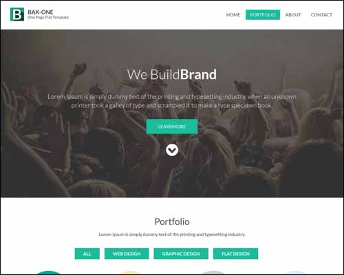 Bak One Single Page Flat Corporate Responsive Free HTML5 Template 20+ Best Free Responsive HTML5 / CSS3 Templates