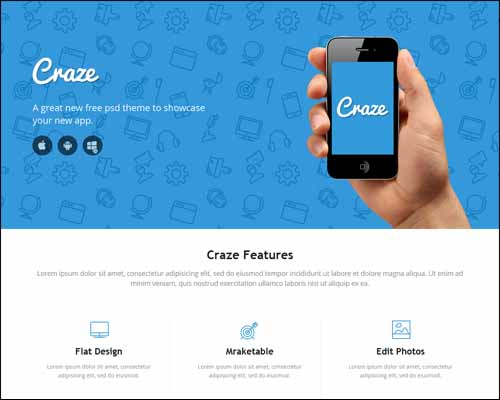 Craze Single Page Responsive Free HTML5 Website Template 20+ Best Free Responsive HTML5 / CSS3 Templates