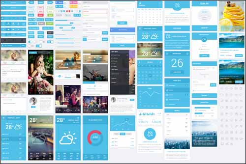 Flatastic Mobile Free PSD UI Kit 30+ Best Free Photoshop PSD UI Kits