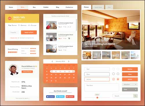 Free UI Kit PSD Real Estate Booking 30+ Best Free Photoshop PSD UI Kits