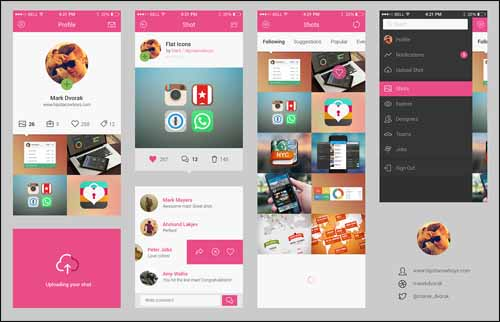 Free Dribbble App Concept Photoshop PSD UI Kit 30+ Best Free Photoshop PSD UI Kits