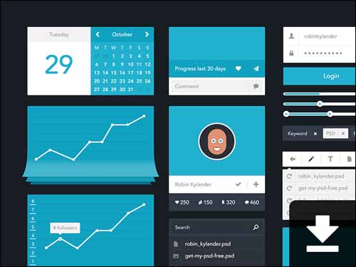 Free Flat Minimalistic PSD UI Kit 30+ Best Free Photoshop PSD UI Kits