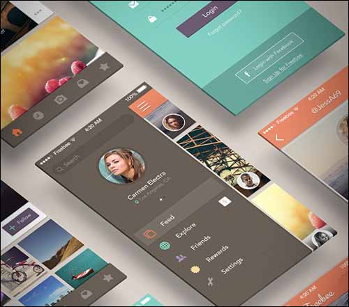 Freebee App Free PSD Photoshop Menu UI Kit 30+ Best Free Photoshop PSD UI Kits
