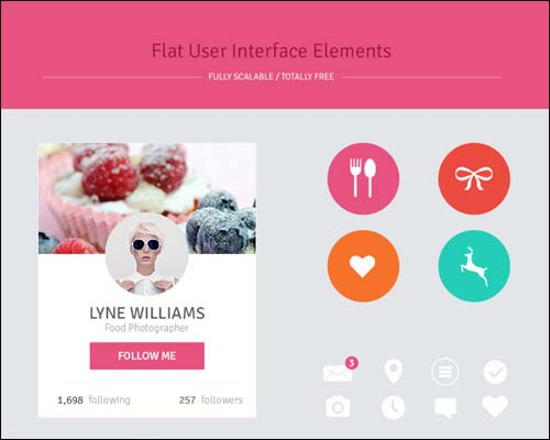 Freebie Flat Design User Interface Elements Free PSD UI Kit 30+ Best Free Photoshop PSD UI Kits
