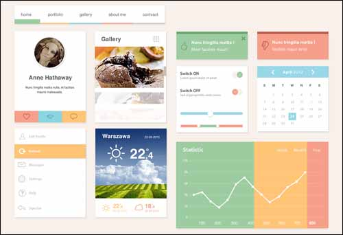 Freebie The Ero Widget Free PSD UI Kit 30+ Best Free Photoshop PSD UI Kits