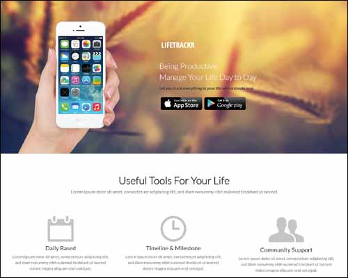 LifeTrackr a Landing Page Flat Responsive Free HTML5 Website Template 20+ Best Free Responsive HTML5 / CSS3 Templates
