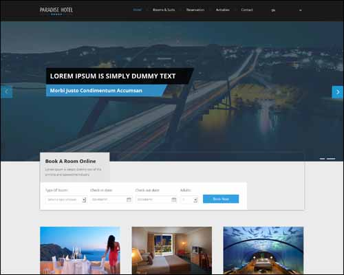 Paradise Hotel a Flat Responsive Free HTML5 Website Template 20+ Best Free Responsive HTML5 / CSS3 Templates