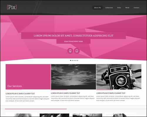 Pix Photography Folio Responsive Free HTML5 Template 20+ Best Free Responsive HTML5 / CSS3 Templates