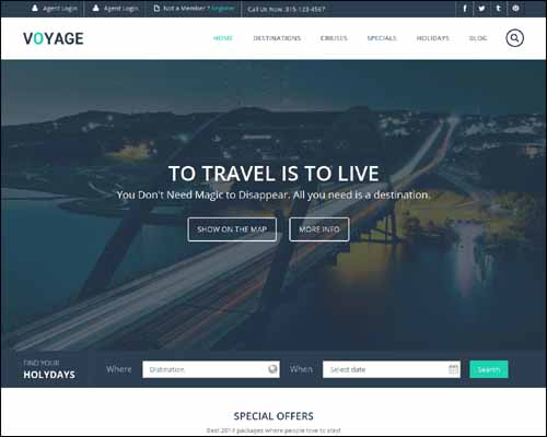 Voyage a Flat Travel Responsive Free HTML5 Website Template 20+ Best Free Responsive HTML5 / CSS3 Templates