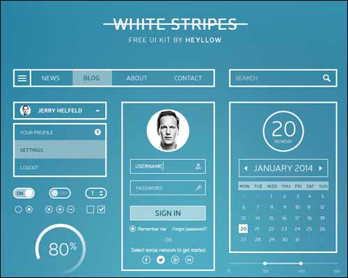 White Stripes UI Kit Free Photoshop PSD UI Kit 30+ Best Free Photoshop PSD UI Kits