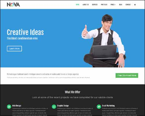 nova multipurpose free html5 website template 20+ Best Free Responsive HTML5 / CSS3 Templates