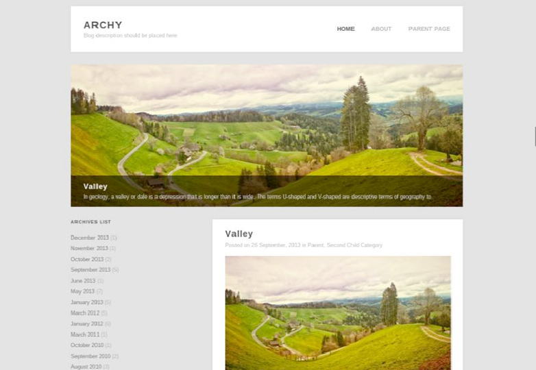 archy Free WordPress themes for March 2014