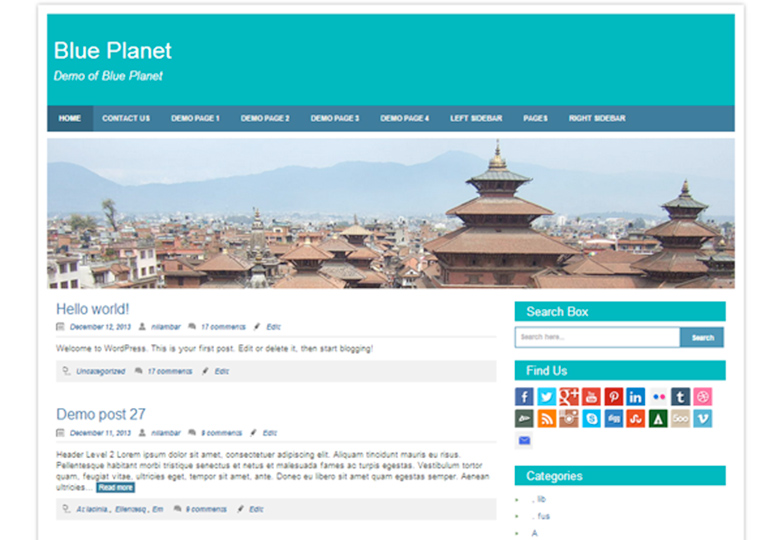 blue planet Free WordPress themes for March 2014