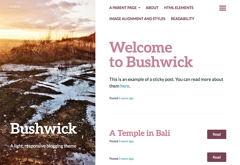 bushwick Free WordPress themes for March 2014