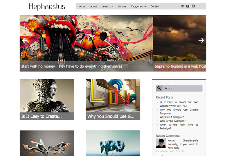 hephaestus Free WordPress themes for March 2014