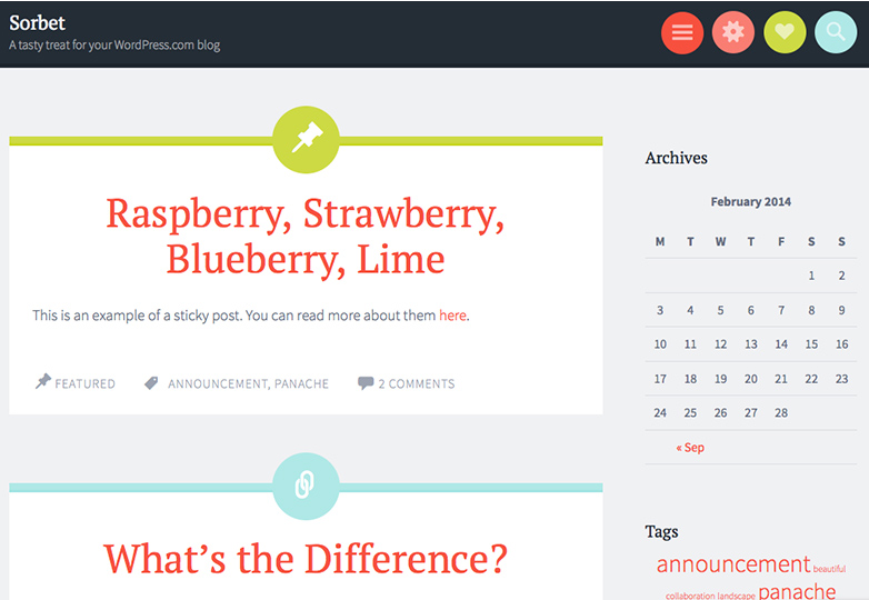 sorbet Free WordPress themes for March 2014
